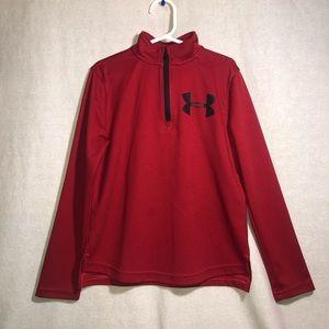 Under Armour Boys Red 1/3 Zip Sweatshirt size S